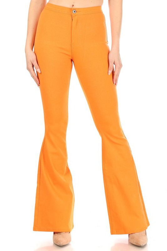 SPANKY STRETCH FLARE JEANS ORANGE
