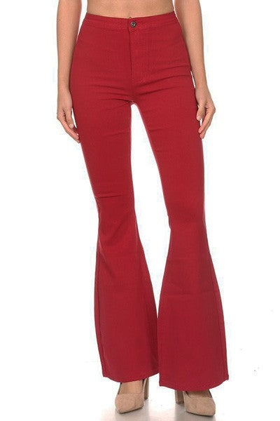 SPANKY STRETCH FLARE JEANS BURGUNDY