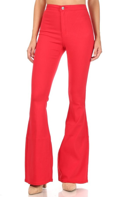 SPANKY STRETCH FLARE JEANS RED