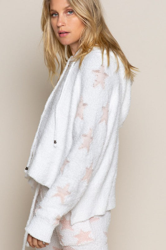 WHITE/PINK STAR PLUSH PULLOVER