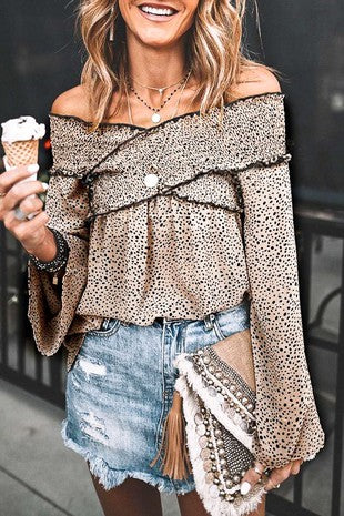 TAUPE LEOPARD SHOULDER CROSS TOP