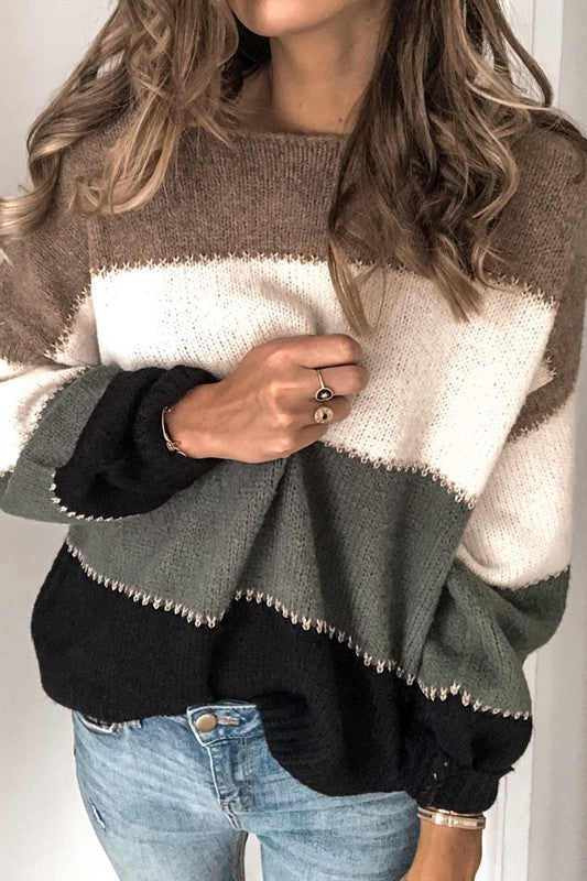 BLACK COLOR BLOCK KNIT SWEATER