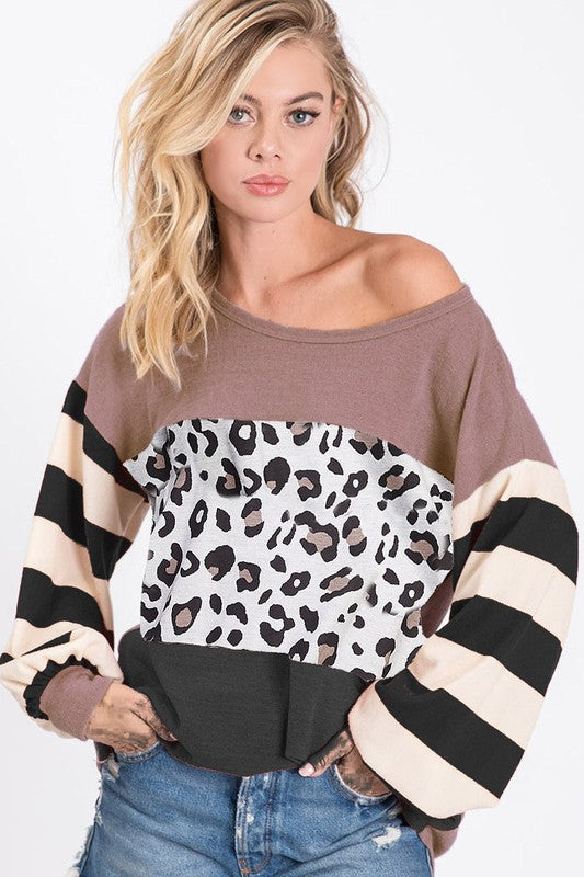 LEOPARD BLOCK SWEATER KNIT TOP WITH STRIPE PUFF SLEEVES