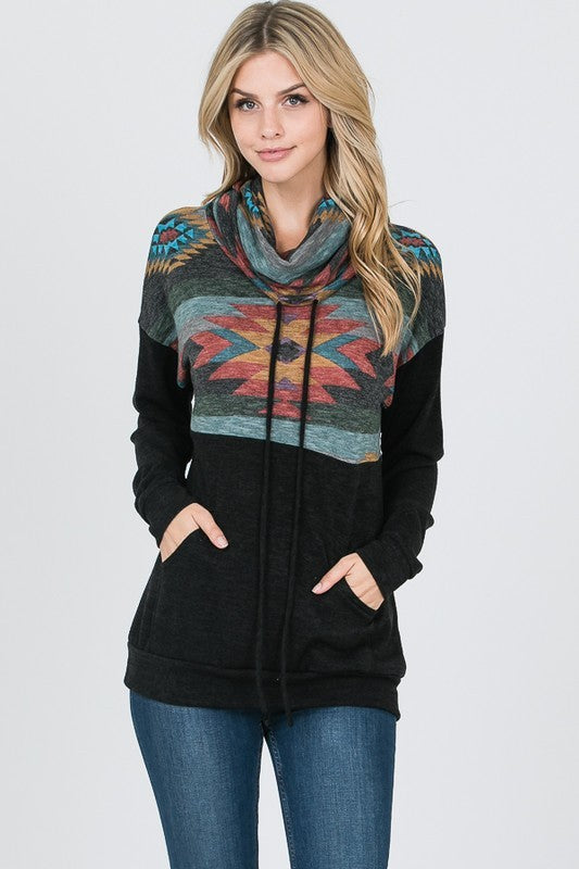 BLACK MULTI PRINT COWL NECK PULLOVER