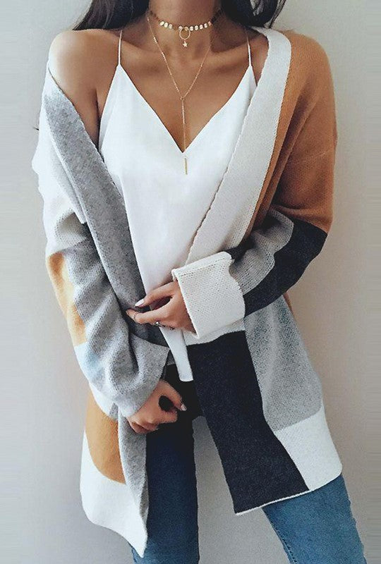 MUSTARD COLOR BLOCK CARDIGAN