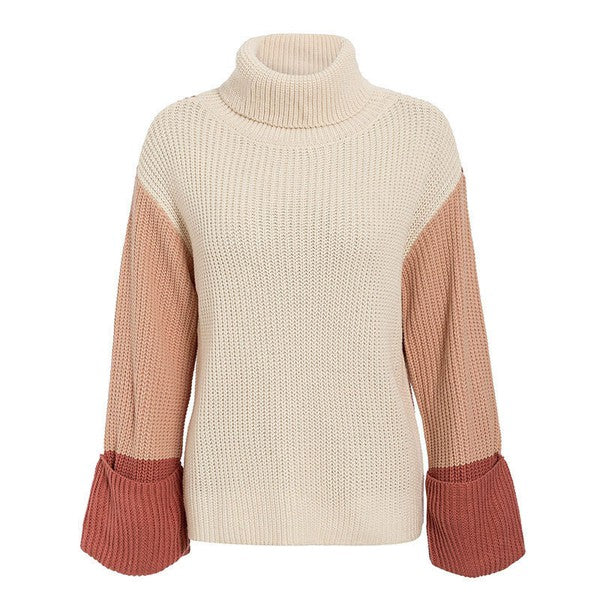RUST & MAUVE TURTLE NECK SWEATER