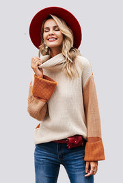 ORANGE & CREAM TURTLE NECK SWEATER