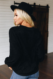 THERE SHE GOES TERRY CASHMERE SWEATSHIRT - BLACK