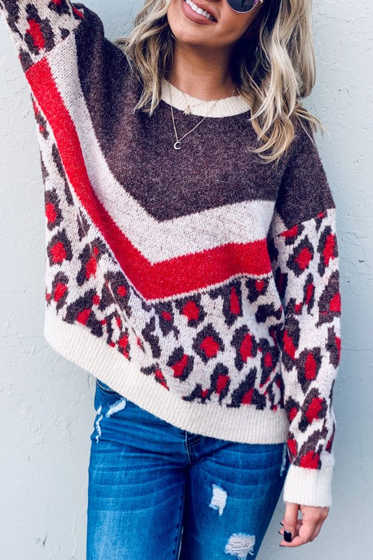 RED LEOPARD PULLOVER SWEATER