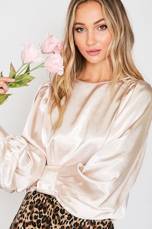 CHAMPAGNE BOAT NECK BALLOON SLEEVES SATIN BLOUSE