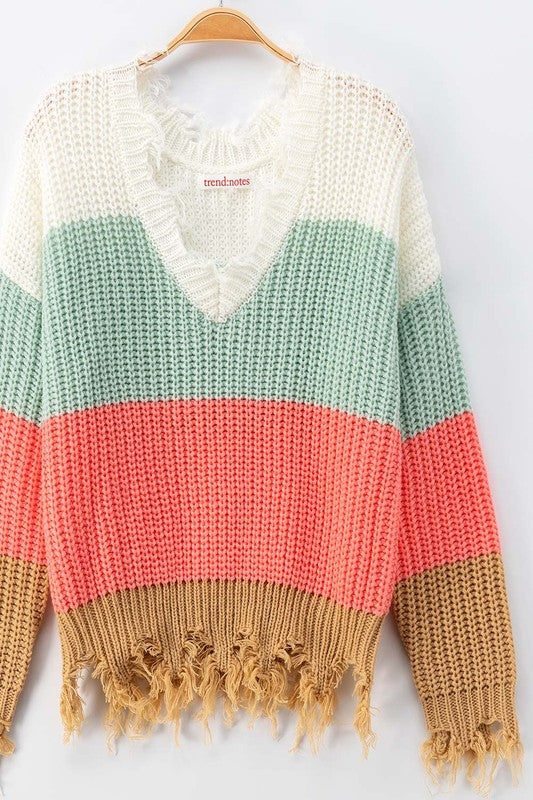 MINT FRAYED HEM CROCHET KNIT COLOR BLOCK SWEATER