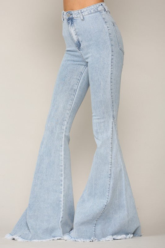 LIGHT DENIM FRINGED FLARES