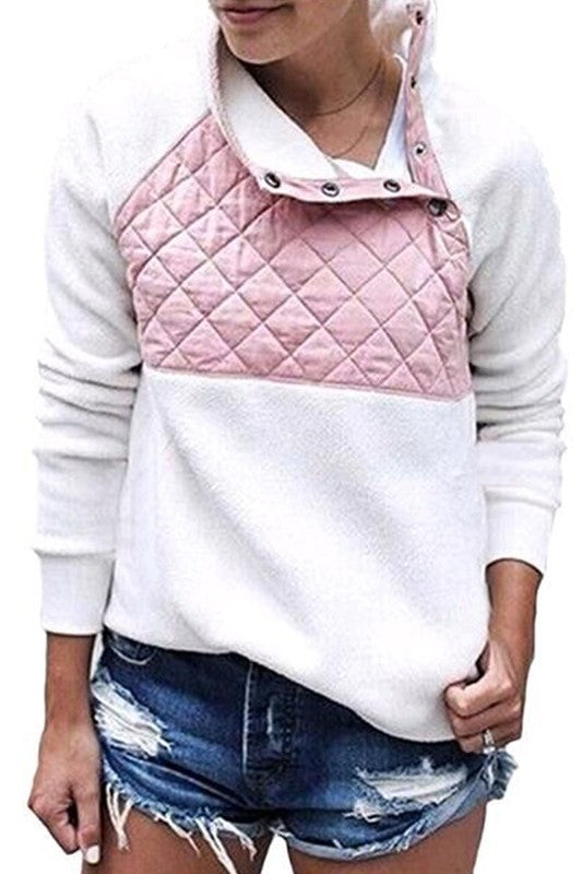 PINK QUILTED ASYMMETRICAL SHERPA PULLOVER