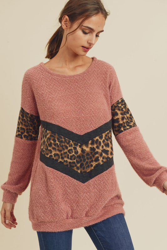 ROSE LEOPARD CHEVRON SWEATER