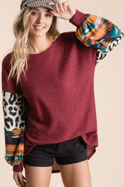 BURGUNDY HIGH LOW ANIMAL AND CHECKER PUFF SLEEVE TUNIC