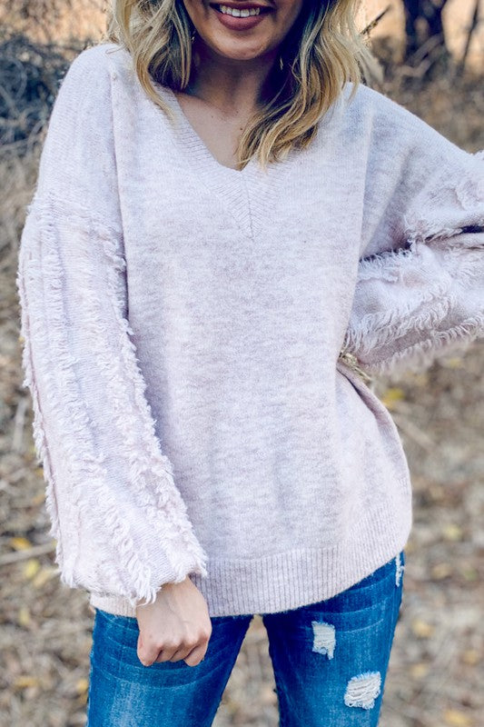 BABY PINK FRINGE DETAIL PULLOVER SWEATER