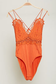 ORANGE LACE DETAIL BODYSUIT