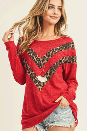 RED AND LEOPARD DOUBLE CHEVRON LONGSLEEVE TOP