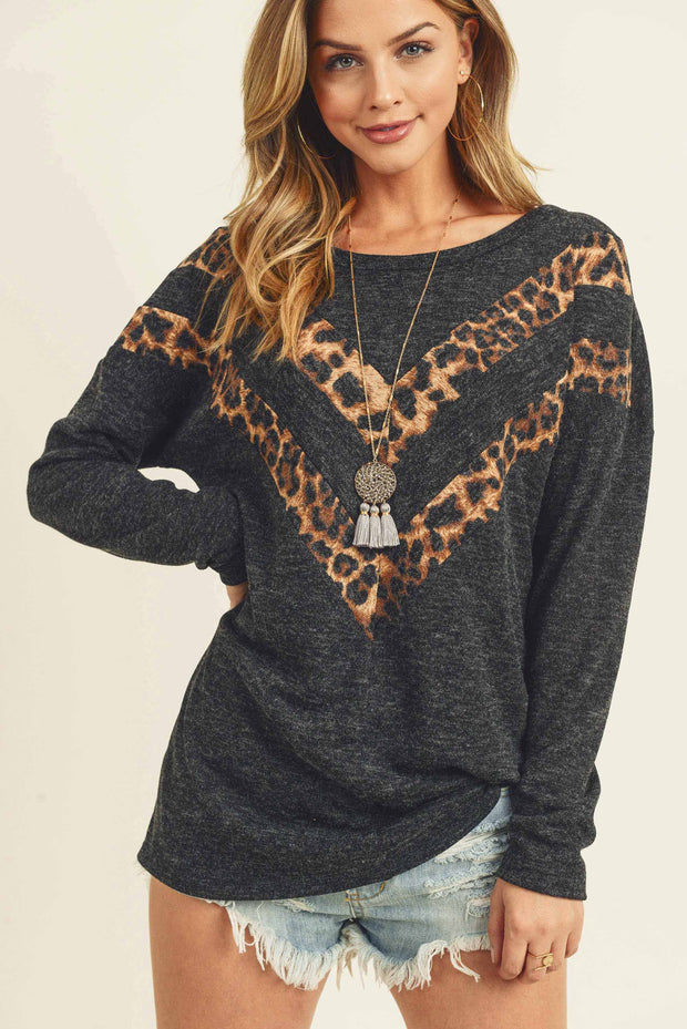 HEATHER BLACK AND LEOPARD DOUBLE CHEVRON LONGSLEEVE TOP