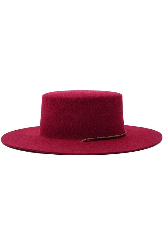 BURGUNDY WOOL FELT PANAMA HAT