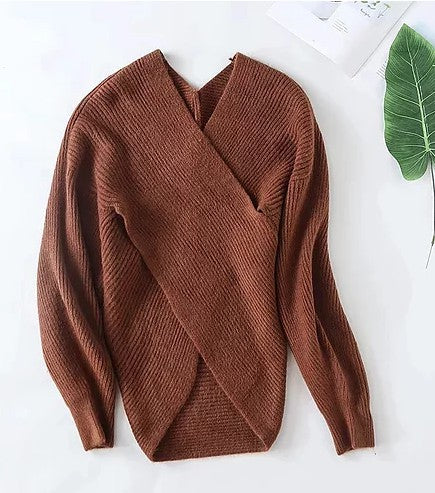 BROWN CROSS FRONT SWEATER