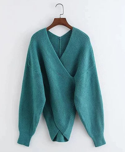 TEAL CROSS FRONT SWEATER
