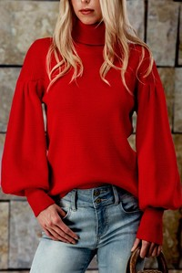 RED SOLID TURTLE NECK PUFF SLEEVE SWEATER