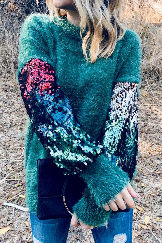 GREEN SEQUIN OMBRE SWEATER