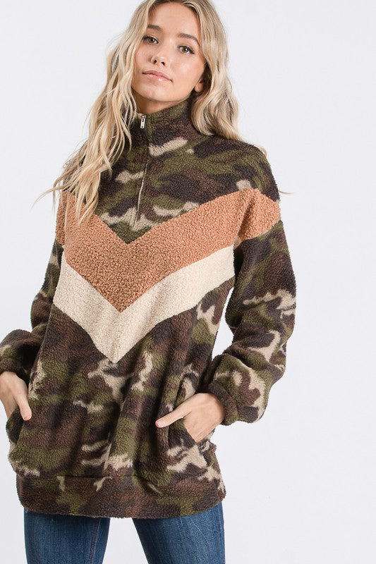 CAMO COLOR BLOCK ZIP UP SHERPA SWEATER W/POCKET