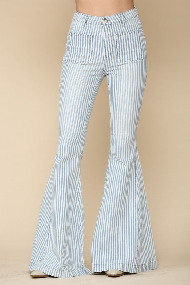 VERTICAL STRIPE LIGHT WASH DENIM FLARES