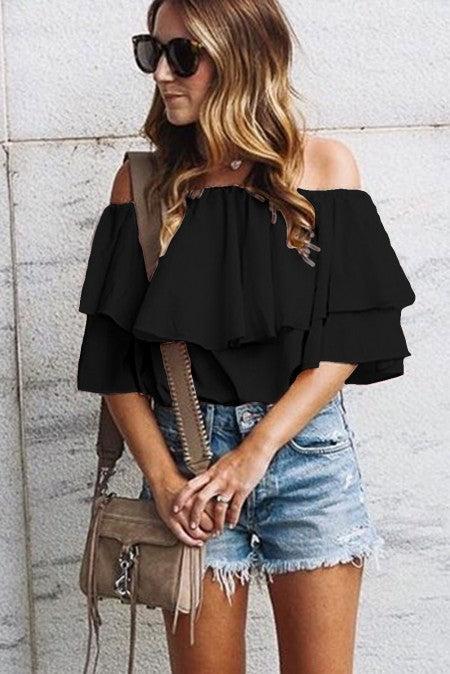 BLACK OFF-SHOULDER RUFFLE TOP