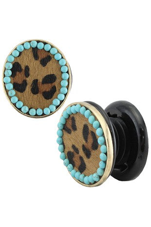 TURQUOISE AND LEOPARD PHONE GRIP