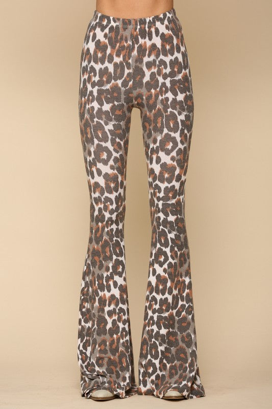 LEOPARD KNIT FRENCH TERRY PANTS