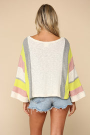 TAUPE & NEON KNIT TOP