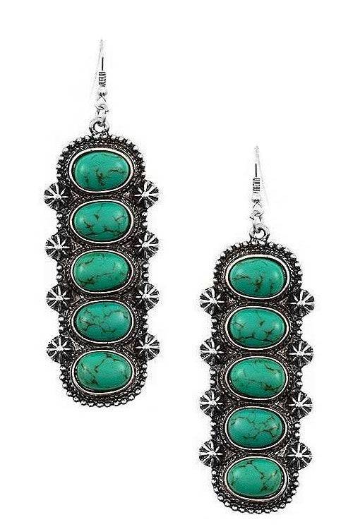 TURQUOISE OVAL DROP SQUASH EARRINGS