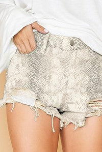 SNAKE SKIN DENIM SHORTS