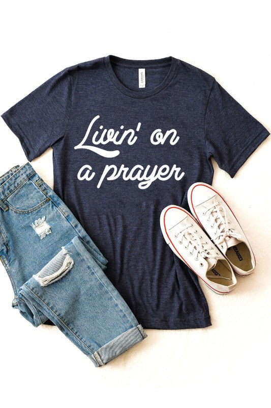 LIVIN' ON A PRAYER - HEATHER NAVY TEE