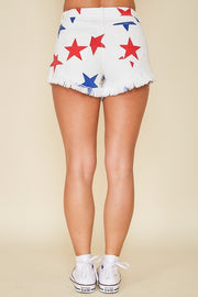 STAR PRINT WHITE DENIM SET (JACKET AND SHORTS)
