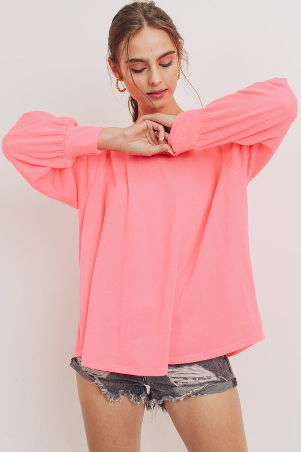 NEON PINK BALLOON SLEEVE TERRY KNIT TOP