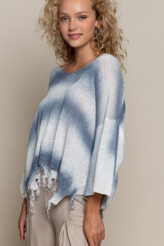 WHITE/BLUE STRIPE DISTRESSED SWEATER TOP