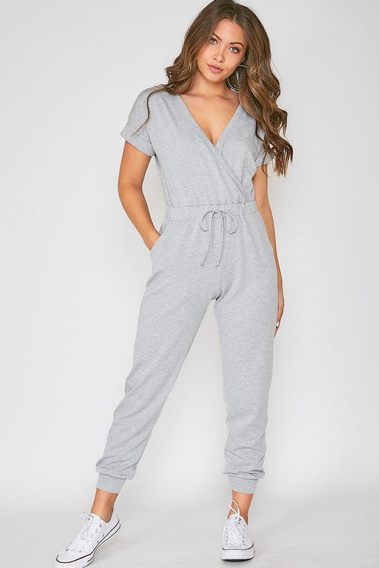 GRAY SHORT SLEEVE V-NECK JUMPSUIT