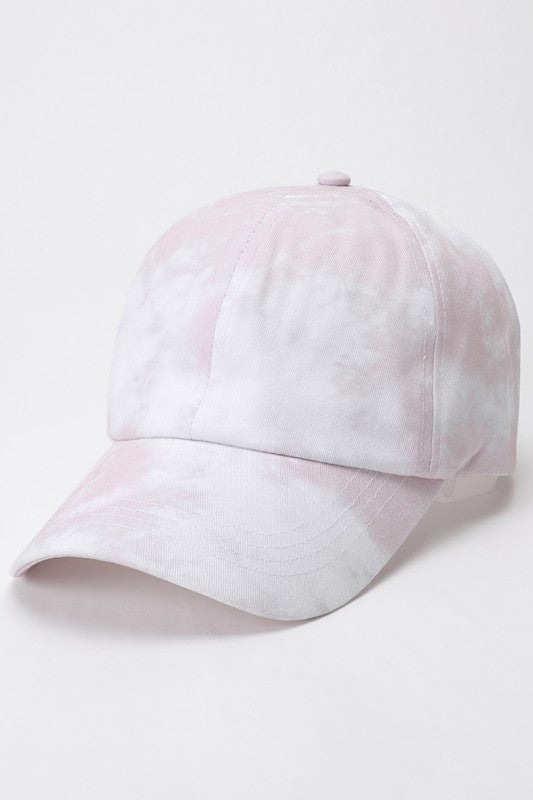 DUSTY PINK TIE DYE BASEBALL CAP