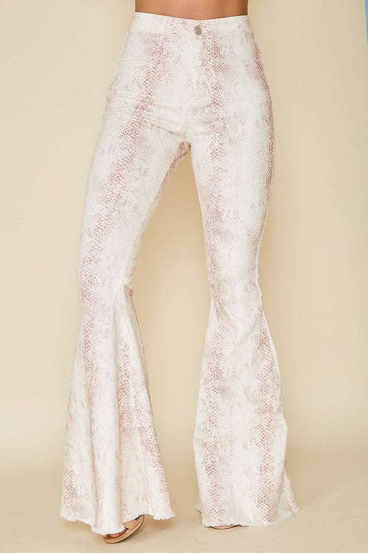 TAUPE SNAKESKIN FLARES