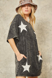 CHARCOAL STAR T-SHIRT DRESS