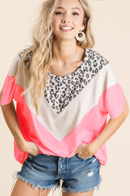 NEON PINK COLOR BLOCK LEOPARD TOP