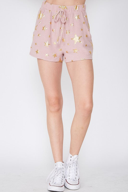 BLUSH/GOLD STAR PRINT SHORTS