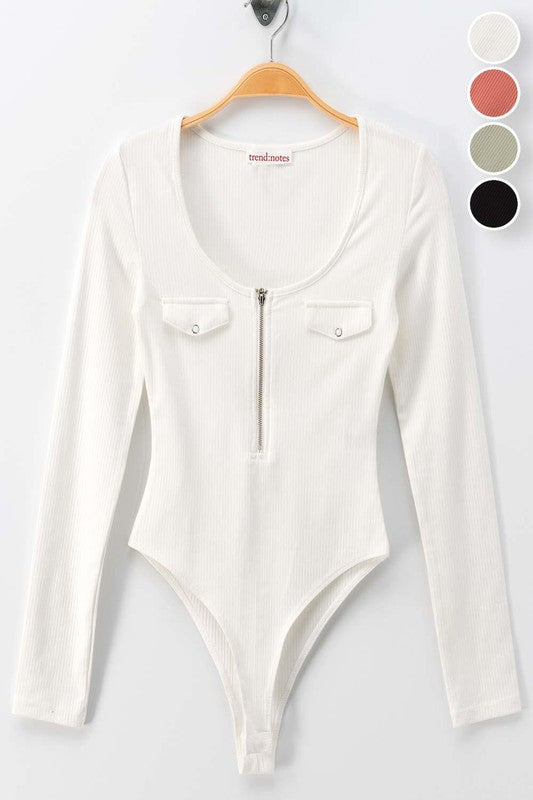 WHITE SCOOP NECK HALF ZIP FRONT LONG SLEEVE RIBBED BODYSUIT