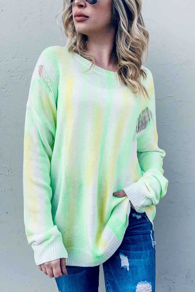 NEON YELLOW DISTRESSED PULLOVER SWEATER
