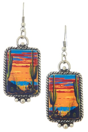 WESTERN PORTRAIT RECTANGLE EARRINGS