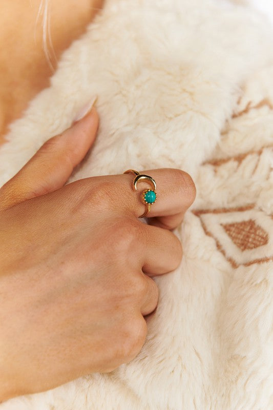 GOLD/TURQUOISE BEADED MOON RING